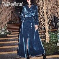 TWOTWINSTYLE бархат для женщин ветровки с длинным рукавом кружево до макси Тренч Женская мода 2018 осень зима верхняя одежда новый