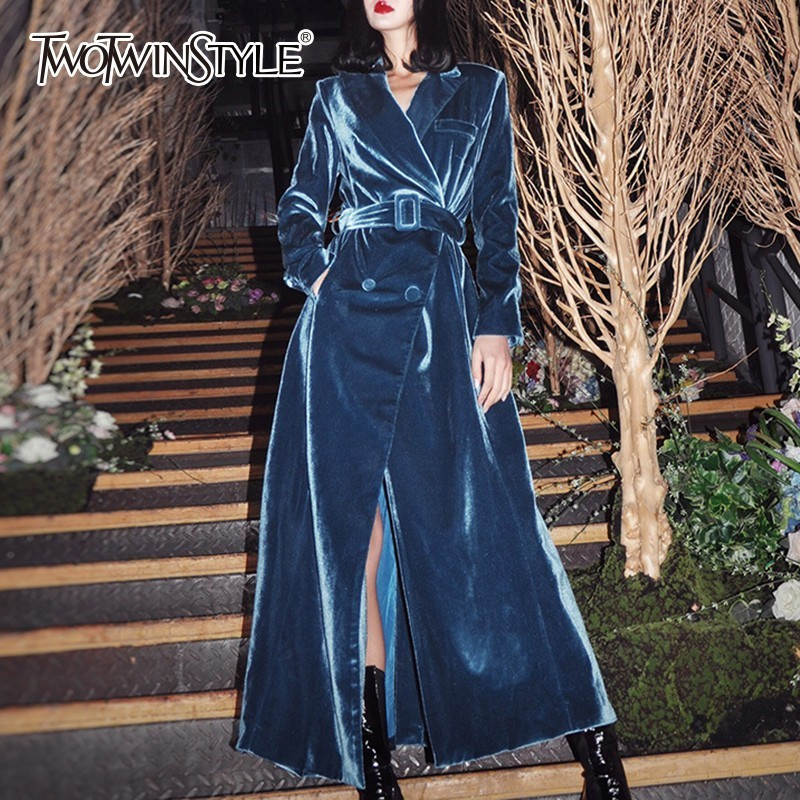 TWOTWINSTYLE Velvet Women's Windbreakers Long Sleeve Lace Up Maxi Trench Coat Fe