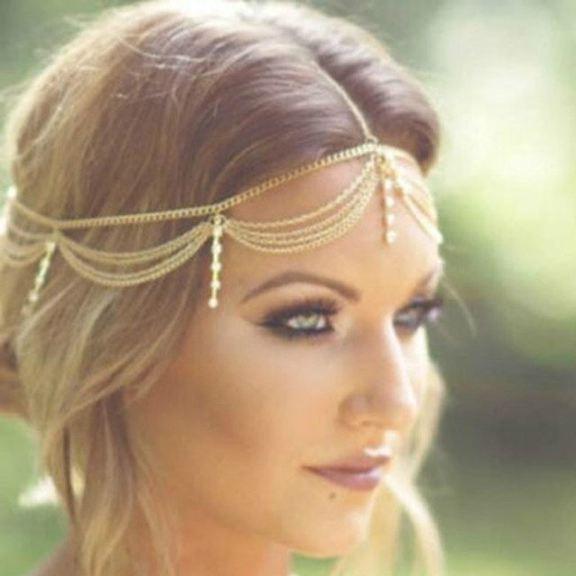 Boho Draping Crystal Bride Hair Accesories New Fashion Elegant  Head Chain Hair Jewelry Wedding Hairstyles Headpiece