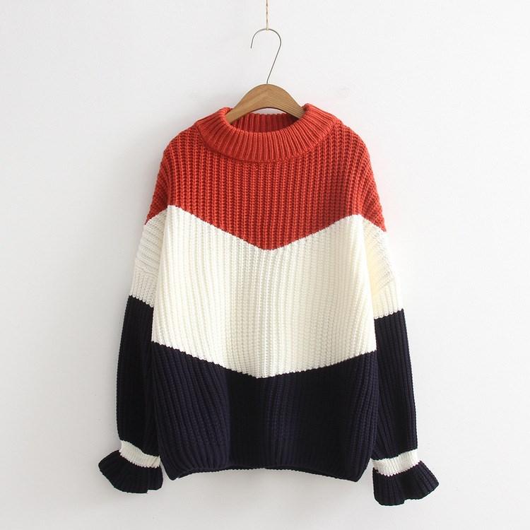 Winter Frauen Lose Pullover Kontrast Farbe Pullover Kausalen Freund Dicken Strick Pullover Weihnachten Rot Pullover Pull Jumper