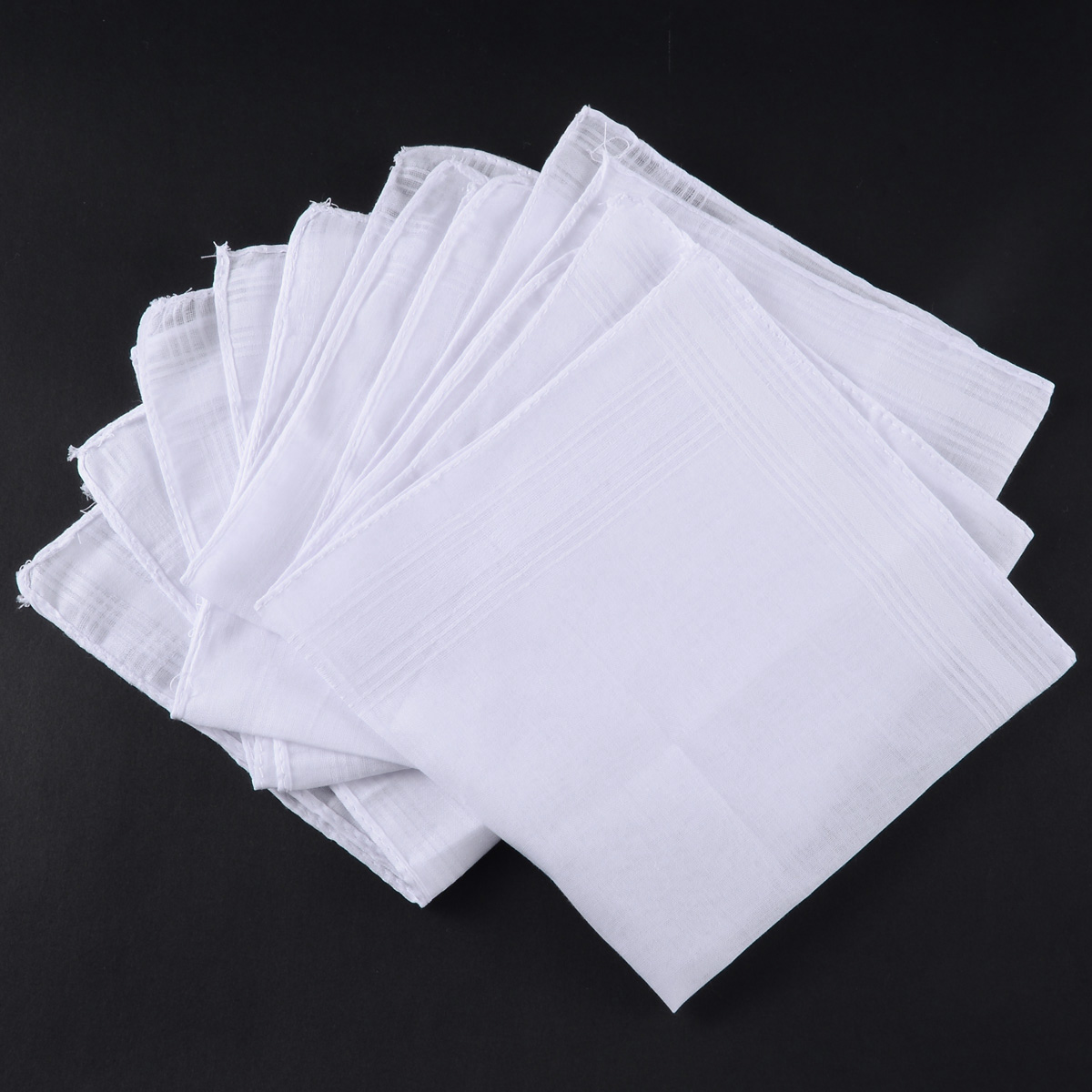 5pcs White Pocket Cotton Solid Handkerchiefs Hankie Hanky With Stripe Men 40*40cm Squares Hanky Party Vintage Gift Hankies