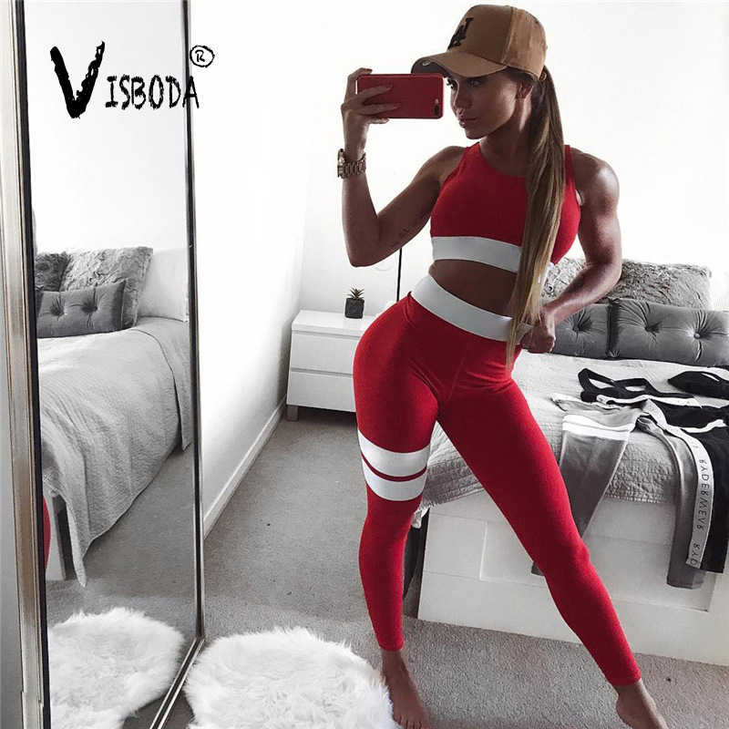 Das mulheres Ternos De Fitness Treino Tanque Cropped Top Sutiã E Calças Legging 2 Peças Set Moda Feminina Listrada Vermelha Sexy treino