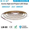 3527 2 en 1 120 ledes/m tira LED, WWCW CCT IP20 DC12V/24 V, 19,2 W/m, 600 ledes/carrete, 5 metros/carrete, no impermeable, para sala de estar dormitorio