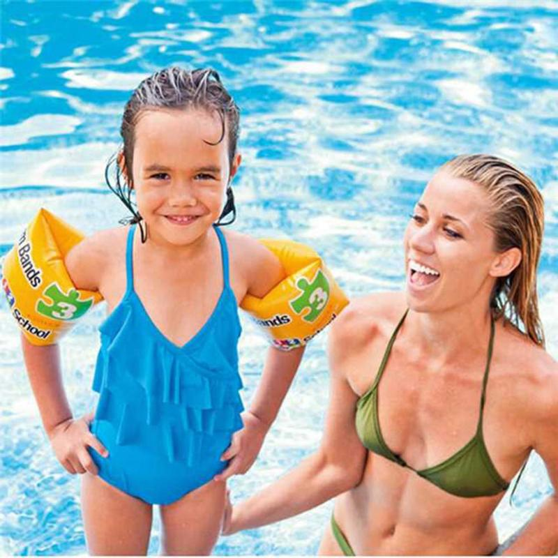 1 Pair Outdoor Pool Swim Ring Buoyancy Arm Circle PVC Print Inflatable Arm Float Baby Arm Swimming Ring Sleeves Circle
