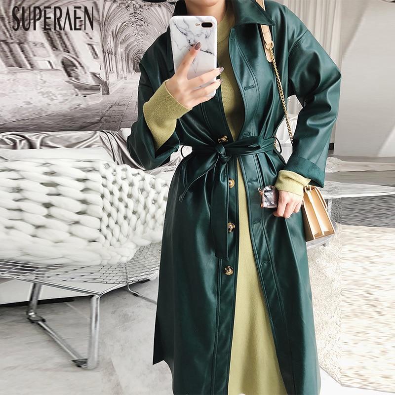 Selvaggio Delle Green Casual Cappotto Pelle Superaen Impermeabili 2019 Nuovo  Colore In Femminile Retro E Cappotti Di Per Primavera ... 975c68646da