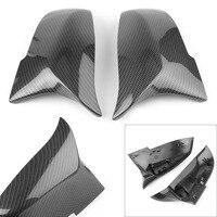 2pcs Auto Car Rear View Side Mirror Cover Trim For BMW F20 F21 F22 F23 F30 F31 F32 F36 X1 E84 F87 M2 Carbon Fiber Style