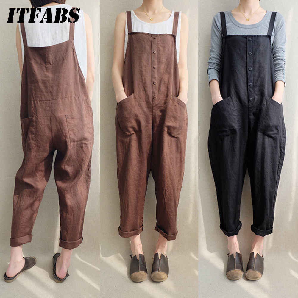 4275943f536 Detail Feedback Questions about Summer Women Casual Loose Bodysuits Cotton  Linen Pocket Jumpsuit Strap Long Trousers Overalls New Fashion Streetwear  Plus ...