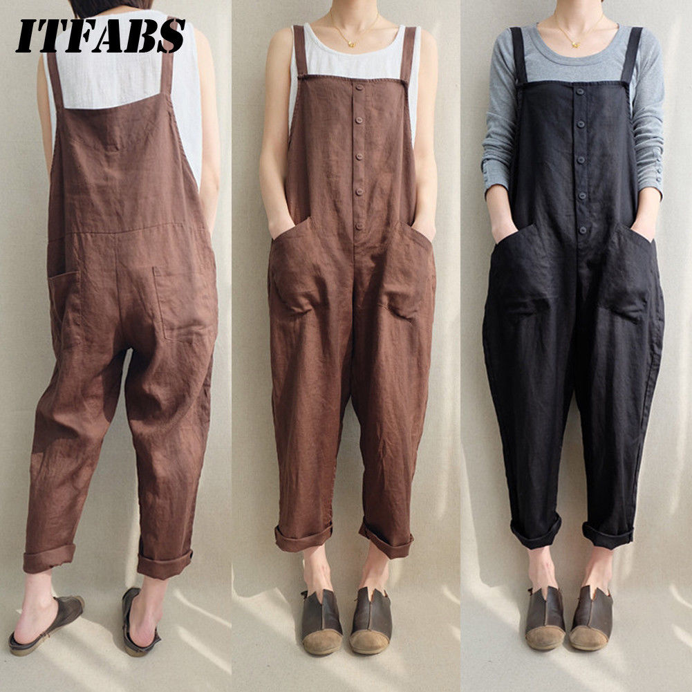 Summer Women Casual Loose Bodysuits Cotton Linen Pocket Jumpsuit Strap Long Trousers Overalls New Arrival Streetwear Plus Size