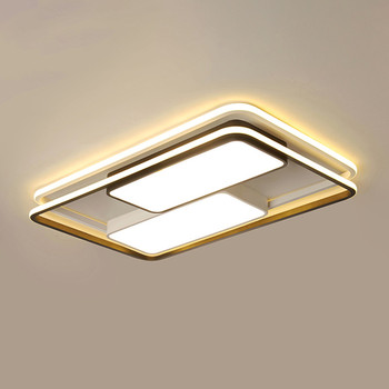 Minimalist Rectangle Lustre Ceiling Chandelier Lighting for Living Room Bedroom Black White Square LED Chandeliers Lamp Fixtures