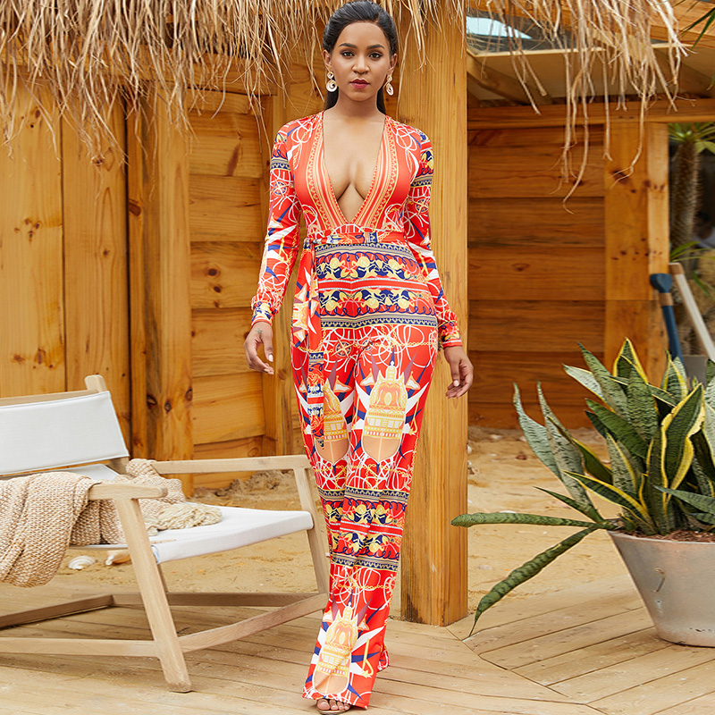 Rompers Women's Jumpsuit 2019 Sexy Deep V-neck Long Sleeve High Waist with Belt Streetwear Vintage Wide Leg Jumpeuits for Women