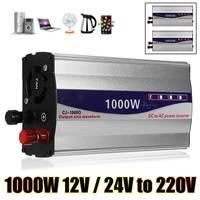 1000W Power Inverter 12V/24V Pure Sine Wave USB to AC 220V Power Inverter Power Supply for Car Household Appliances