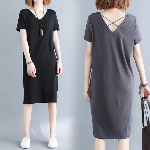 4204 2019 Summer Cotton T Shirt Dress Women Short Sleeve Black Grey Plus  Size 4XL Loose V Neck Backless Hollow Out-in Dresses from Women s Clothing  on ... 08dfc64e5