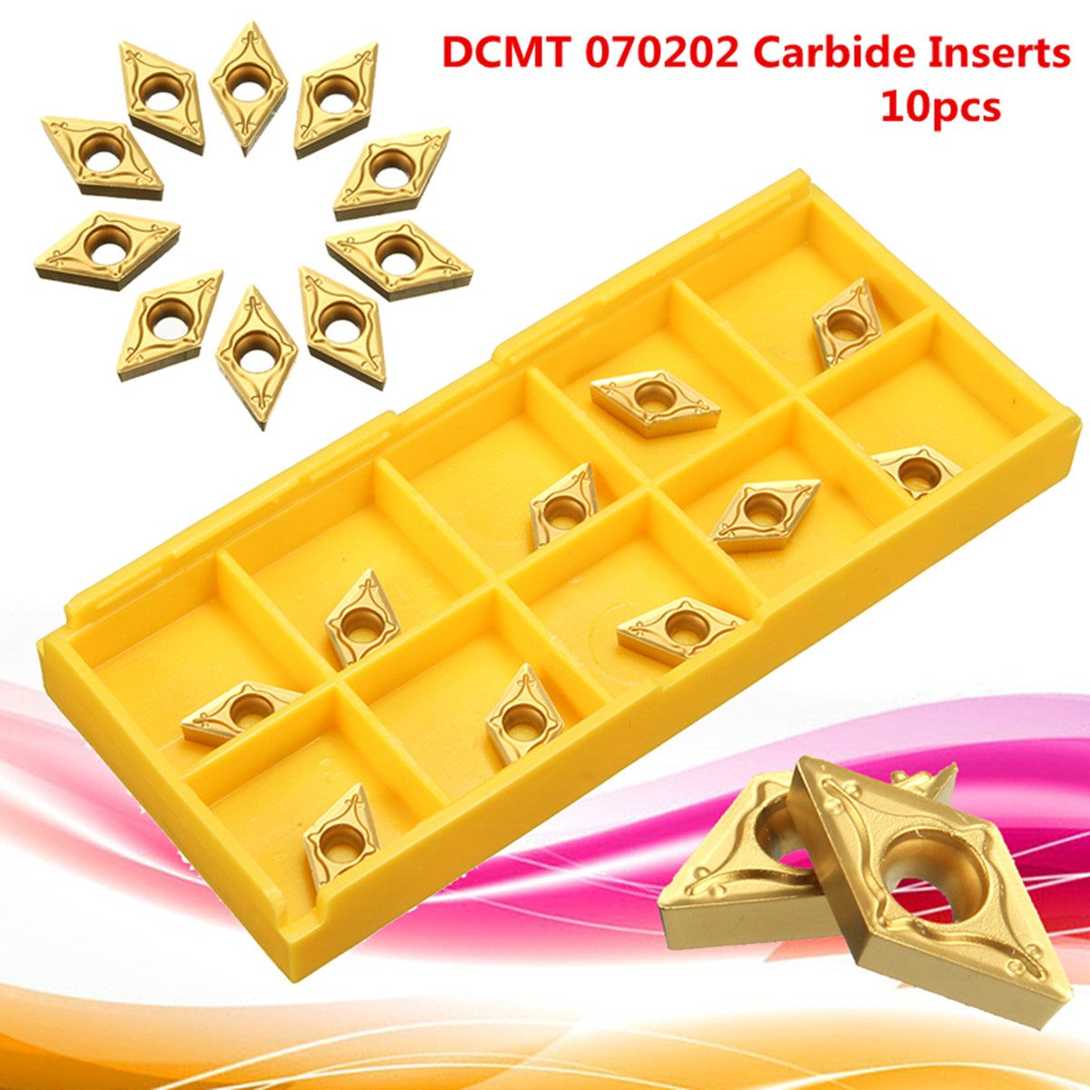 10Pc/box DCMT 0702 TIN Carbide Inserts 7x7x2mm For Steel CNC Semi Finishing Gold