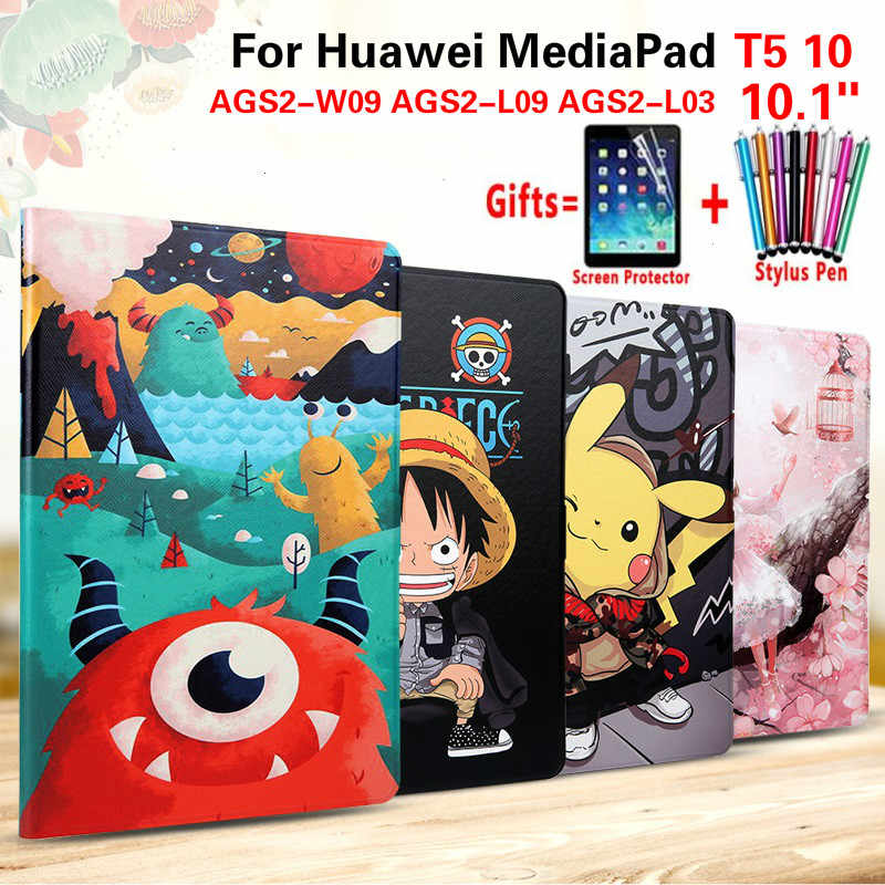 Fashion Painted Case for Huawei MediaPad T5 10 Cases AGS2-W09 AGS2-L09 AGS2-L03 10.1'' Tablet Flip PU Leather Cover Funda + Flim