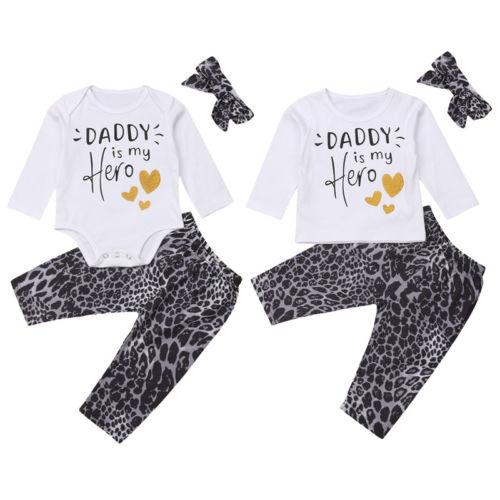 Newborn Baby Boys Girls Clothes Leopard Print Tops T Shirt Long Pants Outfits