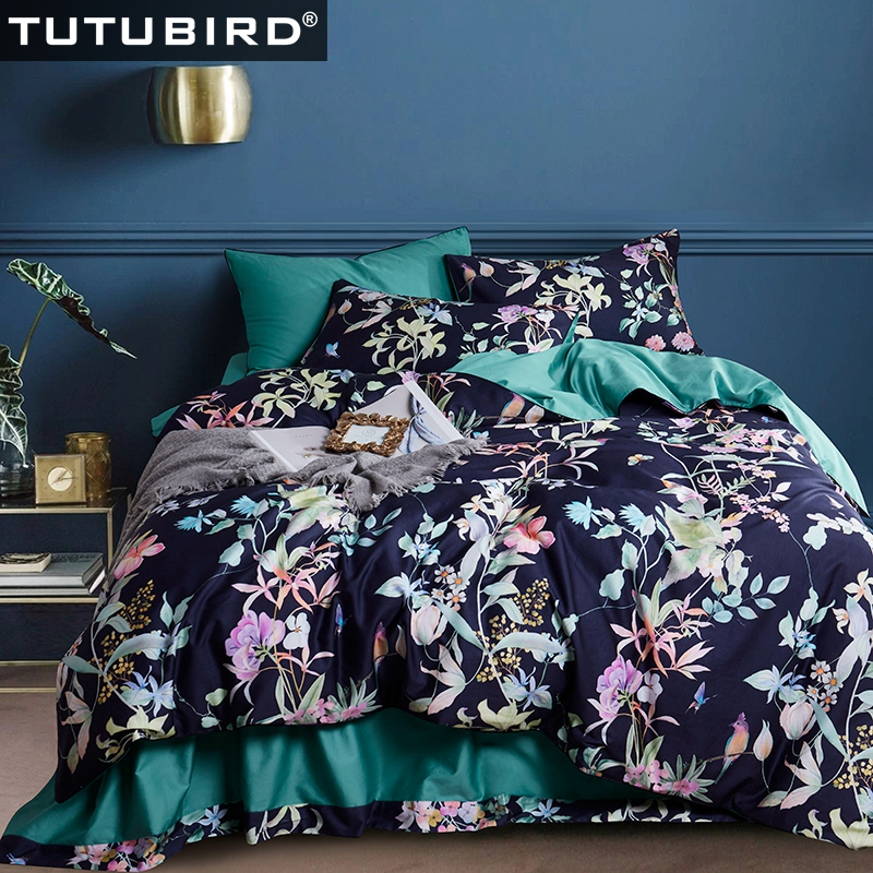 Deep Blue floral bedding set European Satin clothes 100% Egyptian cotton pastoral leaf print bed sheet linen duvet cover 4pcsDeep Blue floral bedding set European Satin clothes 100% Egyptian cotton pastoral leaf print bed sheet linen duvet cover 4pcs