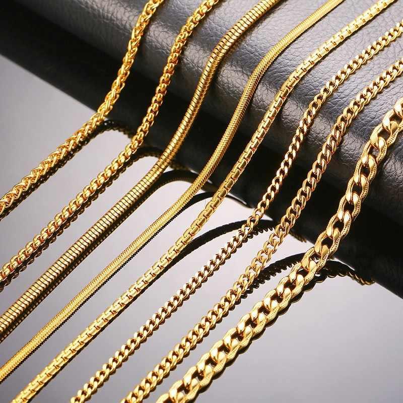 Vnox 3-6 ミリメートルトーンスネーク繭縁石リンクフラットボックス小麦チェーンステンレス鋼男性ネックレスチョーカージュエリー 24 インチ