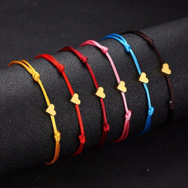 Vnox Heart Charm Bracelet Handmade Jewelry Adjustable Multicolor Rope String Lucky Minimalist Bracelet For Women Children