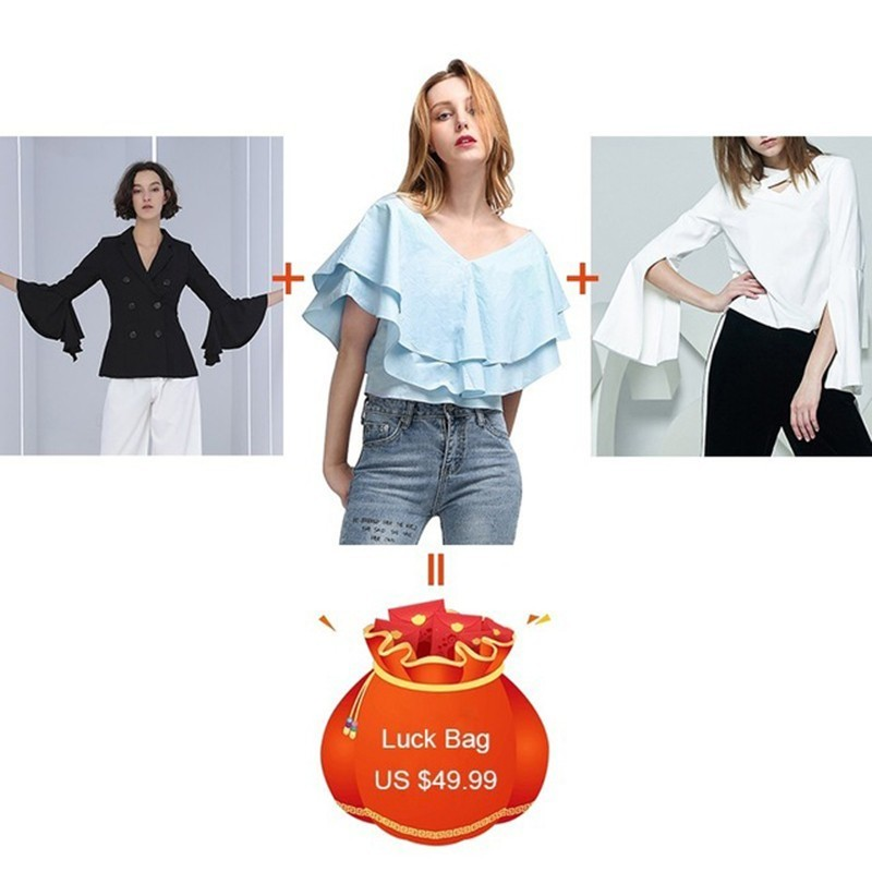 CHICEVER 3 Pieces/lot Clearance V Neck Flare Sleeve Slim Blazer Female Ruffles Chiffon Blouses Split Hollow Out T-shirt 2019 New