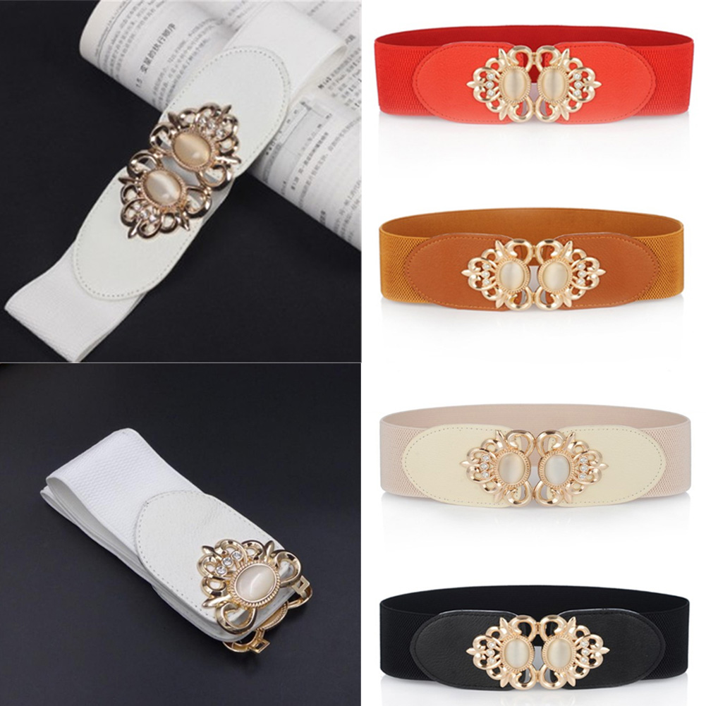 Wide Pu Leather Metal Rhinestone Designed Elastic Belts For Women Clothing Elastic Slim Tight High Waist Shaping Girdle Bands