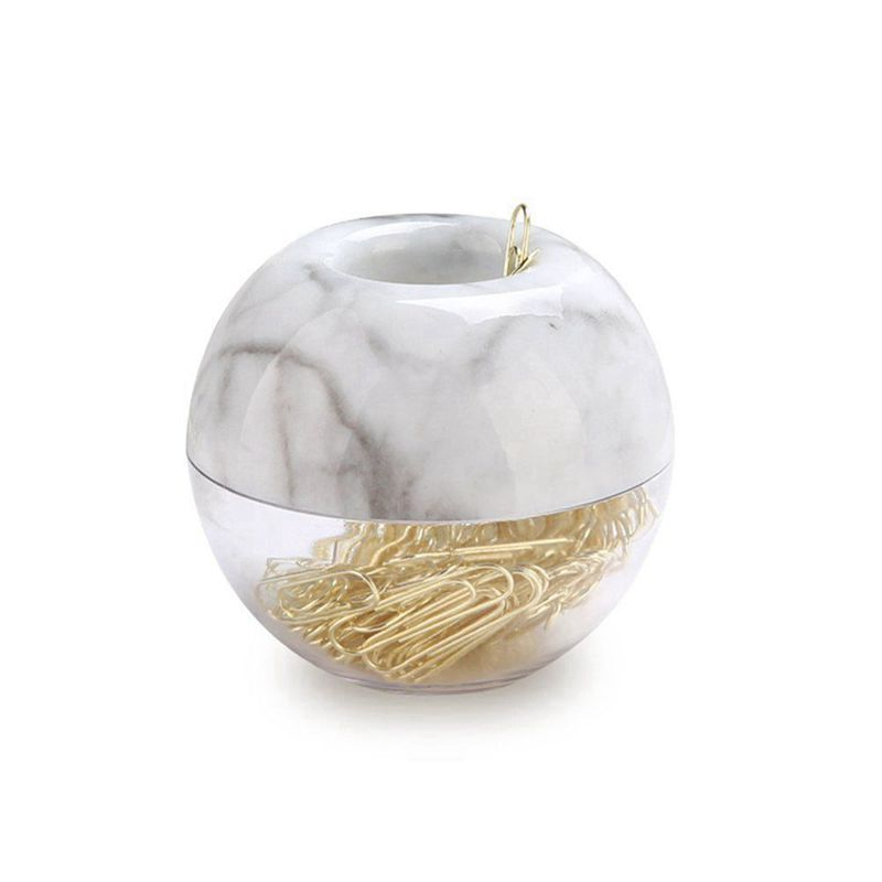 Gold Paper Clips In Elegant Magnetic Marble White Clip Holder, 28mm, 100 Clips Per Box
