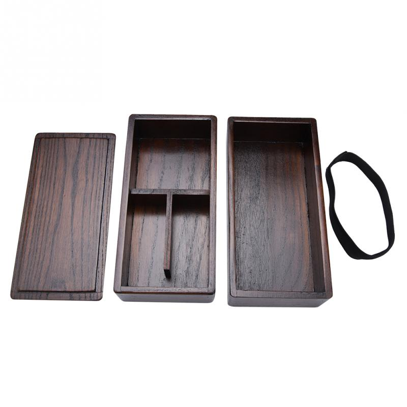 High Quality Japanese Bento Box Natural Wooden Lunch Box Double Layer Rectangle Food Container for Picnic Sushi Bento