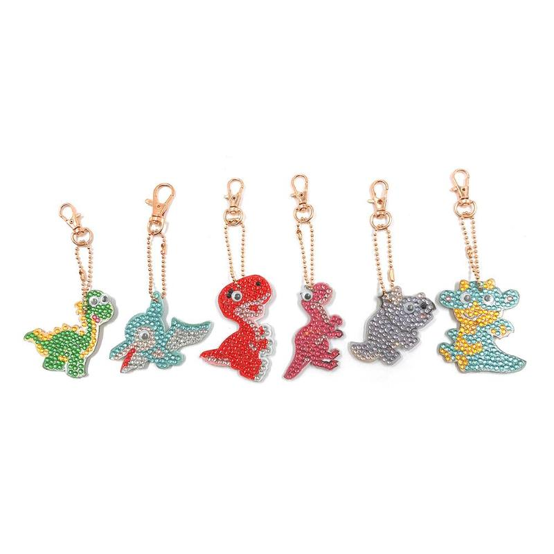 6pcs DIY Keychain Handmade Cartoon Dinosaur Full Drill Diamond Painting Cross Stitch Rhinestone Embroidery Decoration6pcs DIY Keychain Handmade Cartoon Dinosaur Full Drill Diamond Painting Cross Stitch Rhinestone Embroidery Decoration