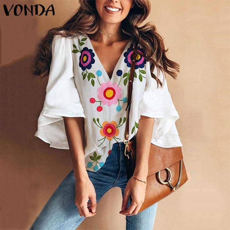 VONDA 2019 Summer Fashion   Blouses   Women Vintage Floral Print   Shirts   Casual V Neck Flare Sleeve Blusas Plus Size Sexy Tops
