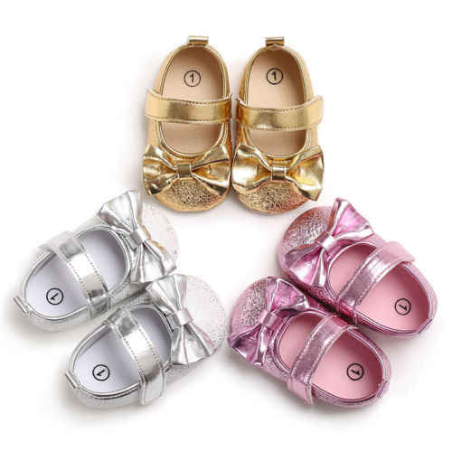 Toddler Infant Baby Girls Shoes Princess Bowknot Soft Sole Crib Shoe Dress Shoes