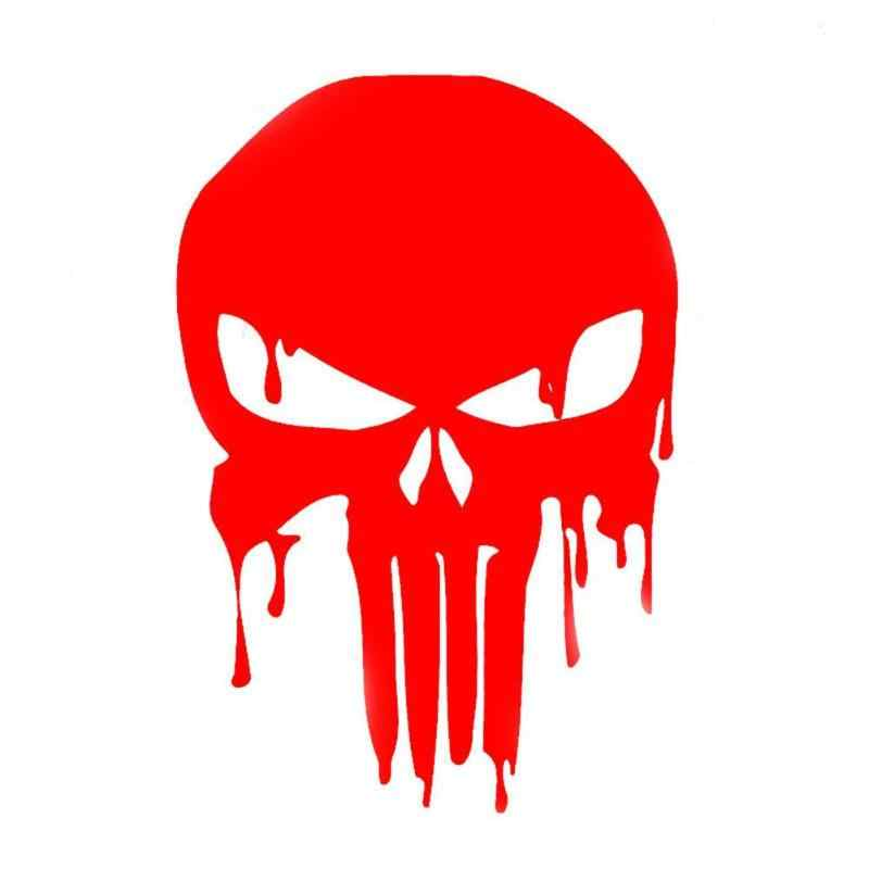 Auto Sticker Grappig 15x10.1 cm Bloody Punisher Schedel Reflecterende Motorcycle Decal Rood voor Auto Bumper Window Auto Decoraties
