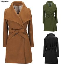 цена на Laipelar Women Jackets  Elegant Wool Blends Pocket Bow Tie Belt Coat Fashion Streetwear Solid Big Collar Slim Ladies Blend Coat
