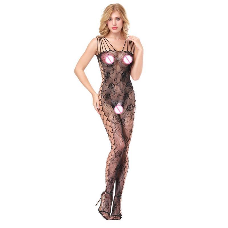 Lingerie Bodystocking See Through Women High Elasticity Fishnet Bodysuit Rose Pattern Bandages Babydoll