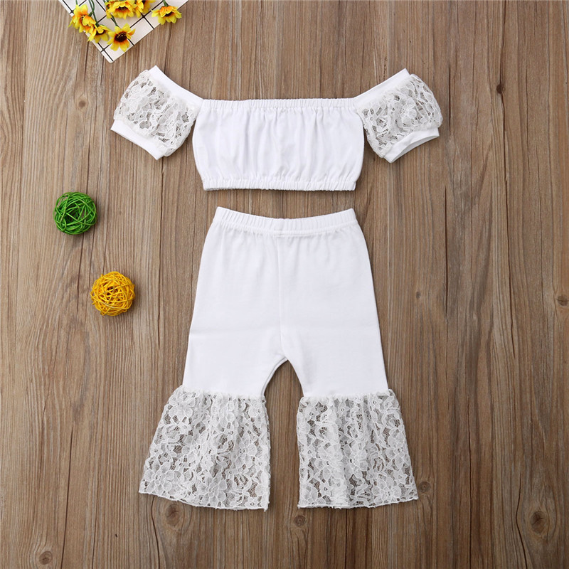 18M 6T Summer Kids Baby Girl Lace Flower Crop Tops Flared Pants 2PCS Outfits Sunsuit Pure White 2PCS Clothing-in Clothing Sets from Mother & Kids on Aliexpress.com | Alibaba Group