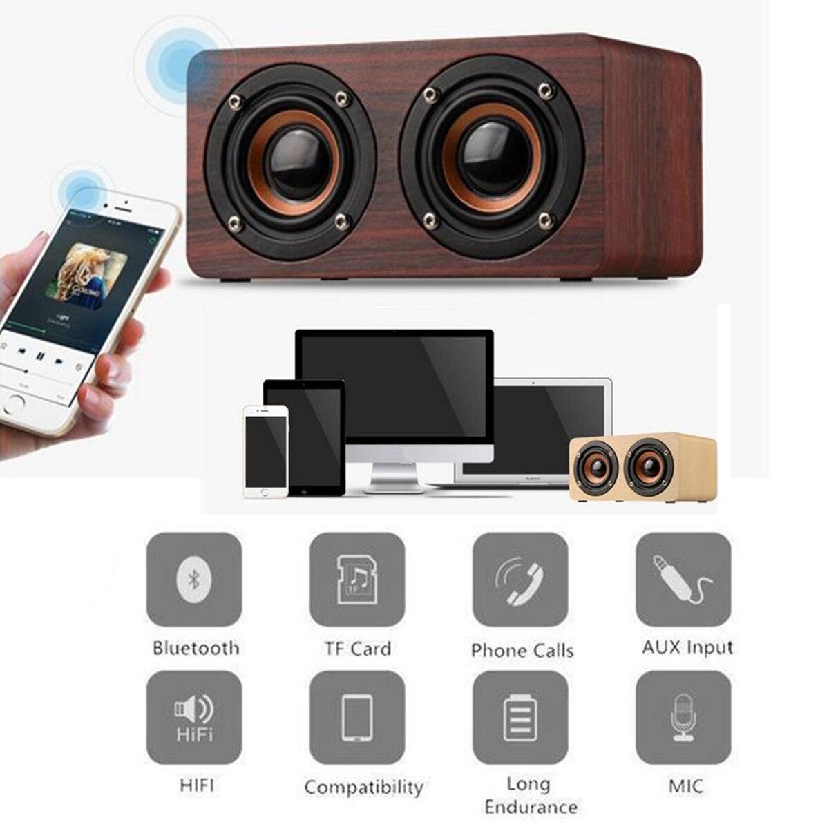 Subwoofer Unterhaltungselektronik 10 W Tragbare Holz Drahtlose Bluetooth Lautsprecher Dual Einheiten W/tf Karte Stereo Bass Lautsprecher Subwoofer