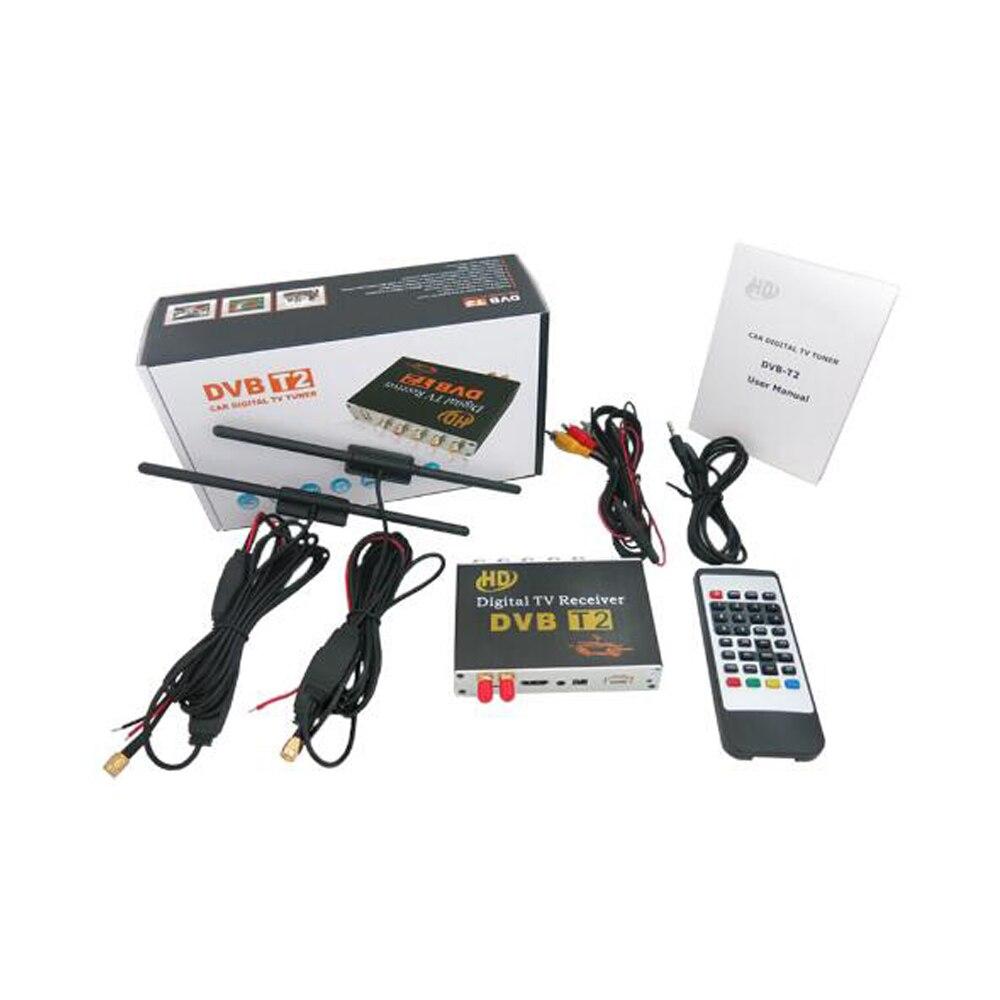 Lecteur Radio Dvd de voiture Koqit DVB-T2 terrestre DVB T récepteur double Tuner véhicule boîtier TV numérique 1080P H.264 CVBS HDMI 150 km/h EPG