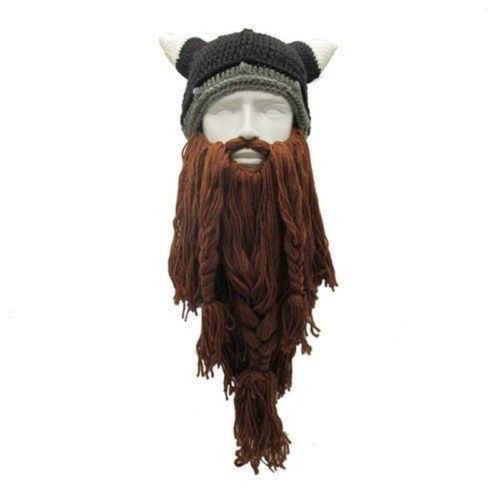 Knit Viking Beard Horn Hat Crazy Ski Cap Barbarian Beanie Halloween UK 8261e0cb7b4