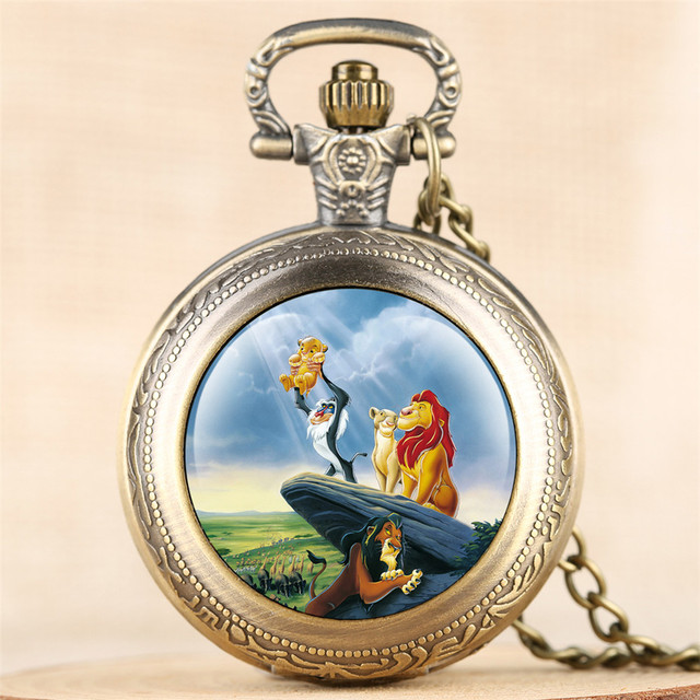 Antique Lion King Theme Fob Pocket Watch Quartz Pendant Necklace Clock Numerals