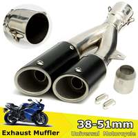Universal Motorcycle Dual Exhaust Muffler Pipe 38 51mm Exhaust Tip Street Dirt Bike Scooter Tail Tube