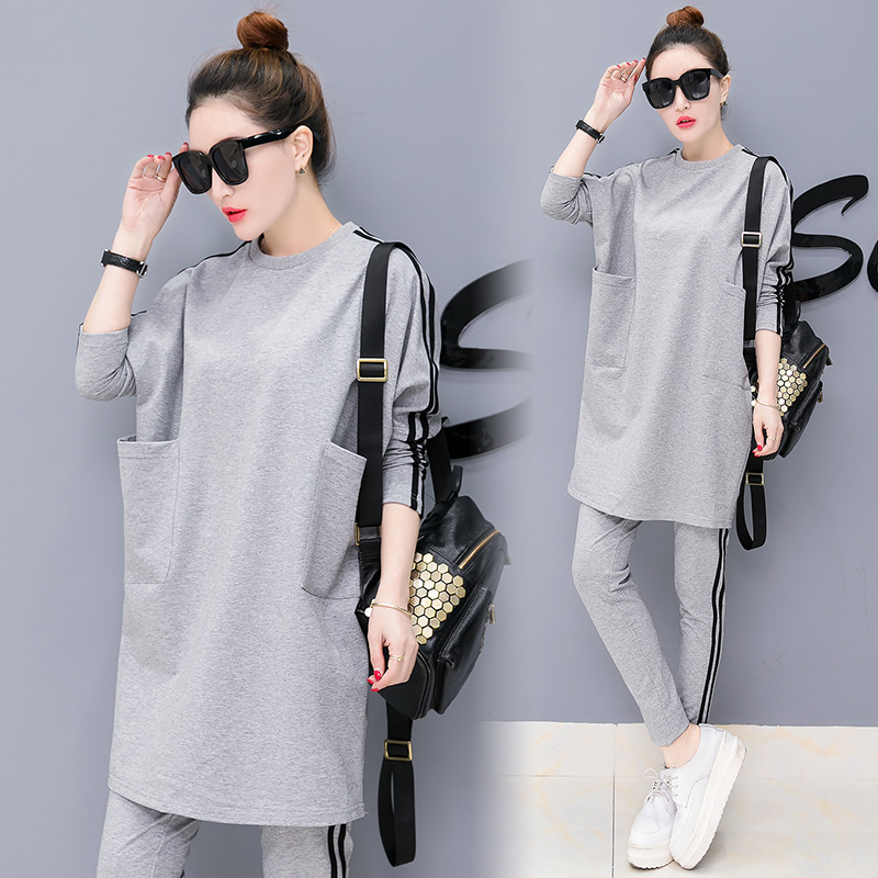 Clothes 2019 The New Women's Clothing Han Edition Fashion Leisure Sport Suit Two Piece Set  Top And Pants Long Sleeves Autumn