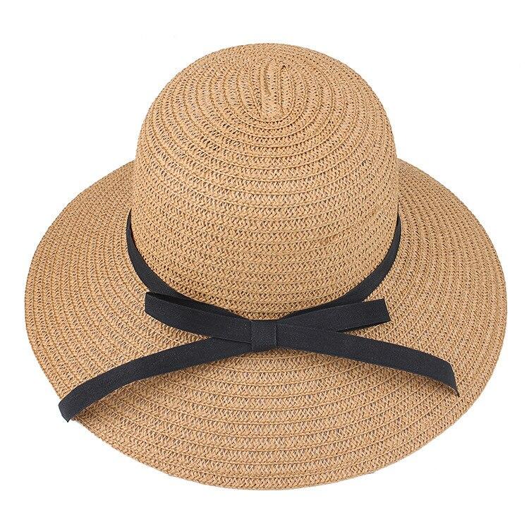 Складная женская Соломенная пляжная шляпа, летняя пляжная Панама с широкими полями, бежевая, дышащая