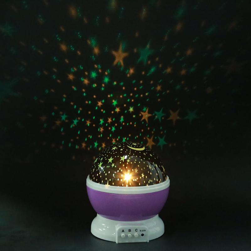 Stars Starry Sky LED Night Light Rotating Projector Moon Lamp Battery USB Kids Gifts Children Bedroom Lamp Projection Light