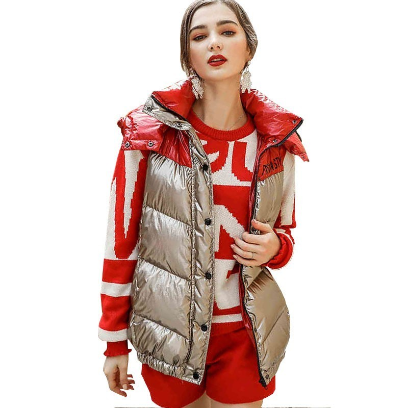 Silver Feather Vest Female Short Section Thin And Light 2018 New Hooded Slim Fashion Women's Jacket Winter Splice   Down     Coat   HJ80