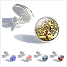 Klimt Tree Of Life Glass Cabochon Stud Earrings Gustav Art Picture Women Fashion Jewelry Gifts