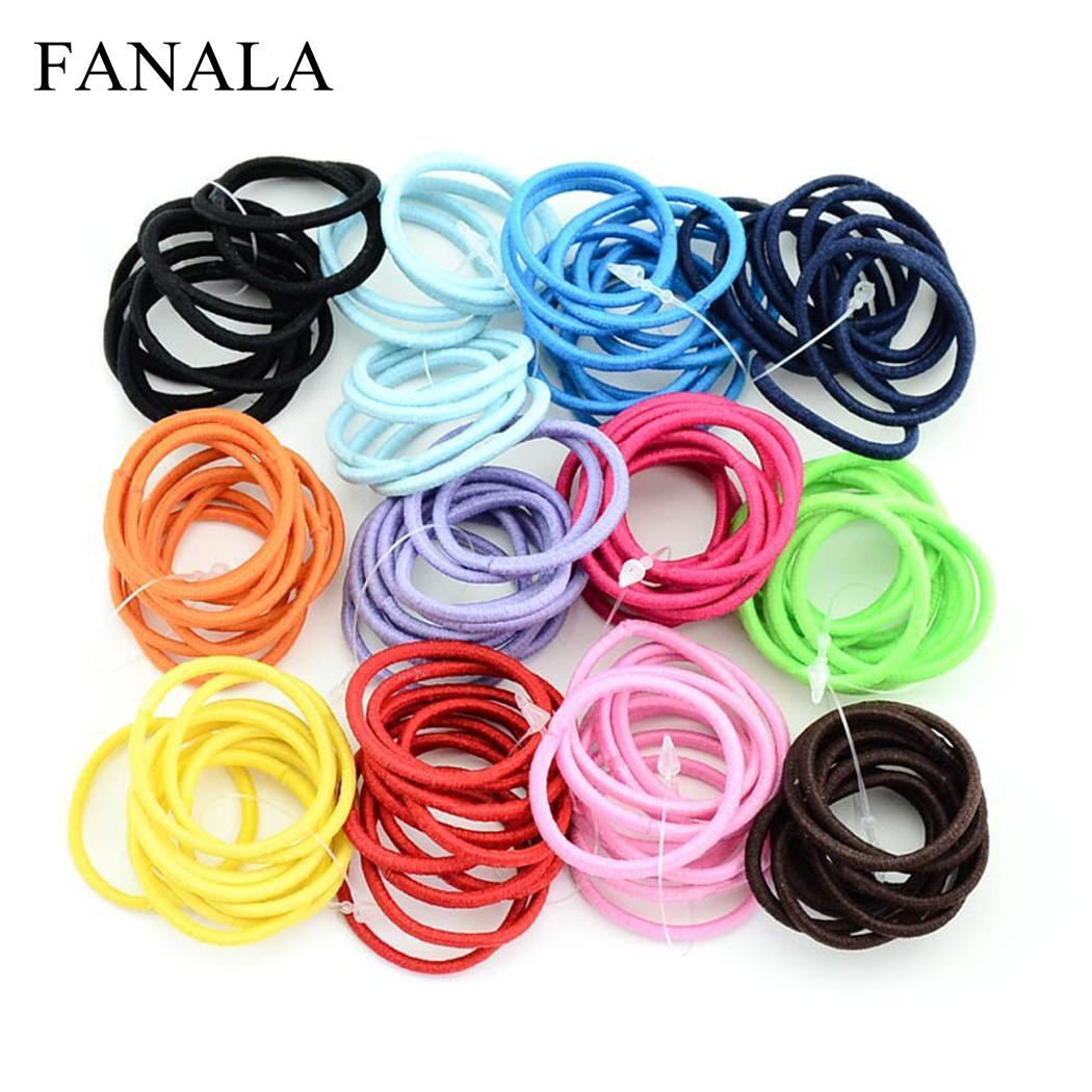 100 Pcs/Set Kids Cute Candy Solid Hair Rope Fashion Women Elastic Hair Ring Casual   Headwear   Ponytail Holder