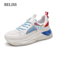 BELISS 2019 Flat Shoes Women Genuine Leather Sneakers Platform Breathable Mesh Casual Female Fashion Sneaker Lace Up P44