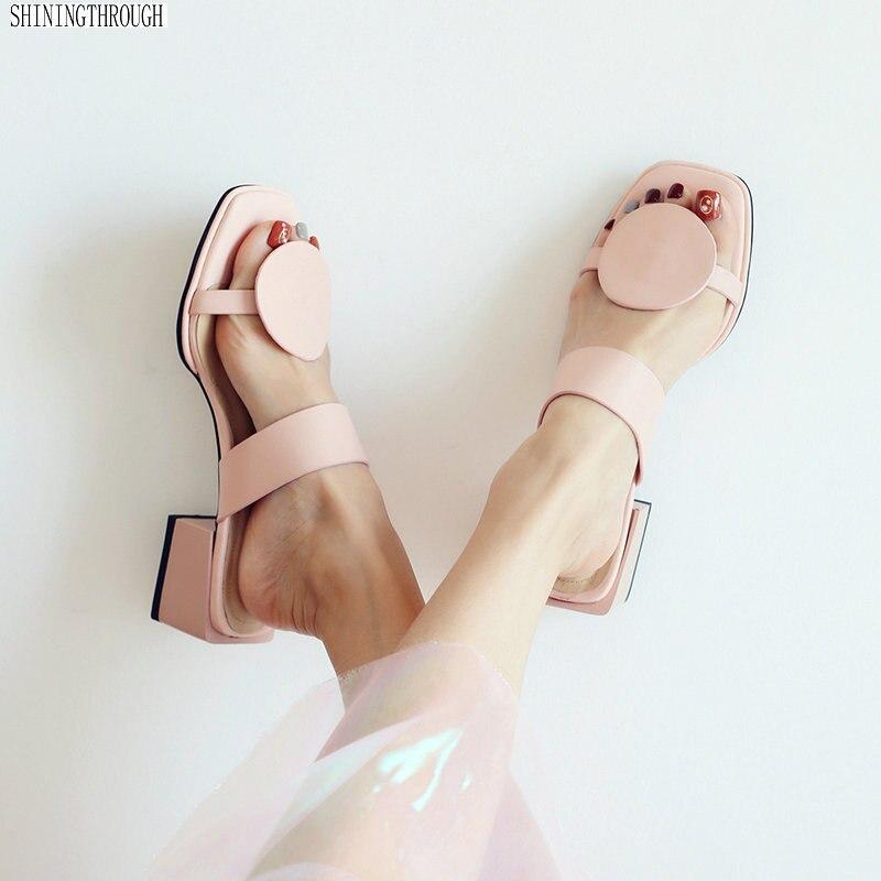 Nouveau chaussons pour femmes en cuir véritable 4.5 cm talons carrés pantoufle à bout ouvert sandales femmes rose bleu dames chaussures femme décontractées 32-48