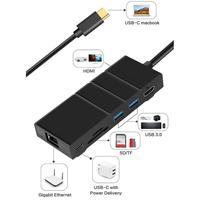 7 in 1 Type C Hub with Ethernet Port 4K USB C to HDMI 2 USB 3.0 Ports 1 USB 2 Car Adapter Auto Accessory Home Digital Tool