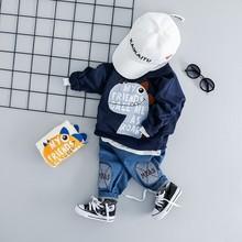 Spring Autumn Toddler Children Clothes Suits Baby Girls Boy Clothing Kids Jacket Jeans 2Pcs/Set Infant Cartoon Costume Tracksuit стоимость