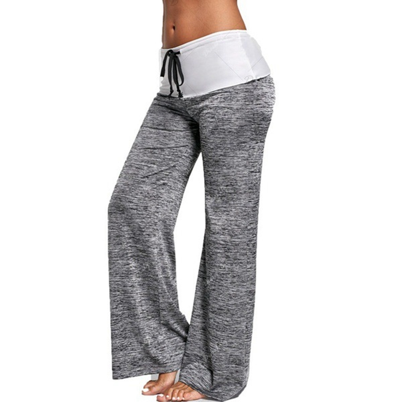 Frauen Patchwork Sexy Yoga Hosen Marke Hohe Taille Elastische Wide Leg Voll Hosen Spitze Up Fitness Lose Tanzen Yoga Hose streetwear