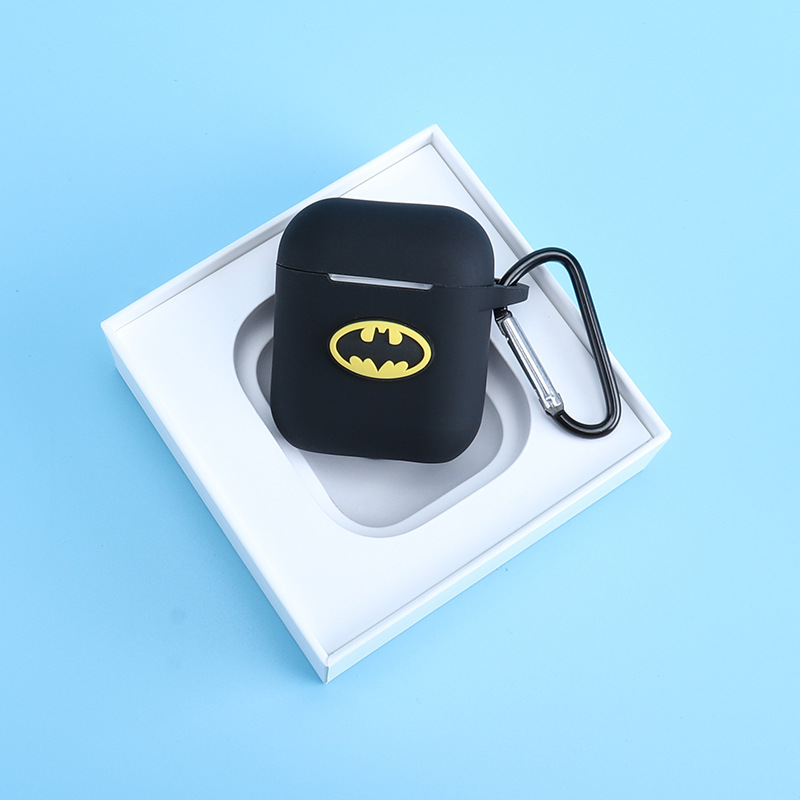 Silicone case for Apple Airpods cute case protective cover Bluetooth Earphone Charging Box case Anti lost Marvel with keychain in Earphone Accessories from Consumer Electronics